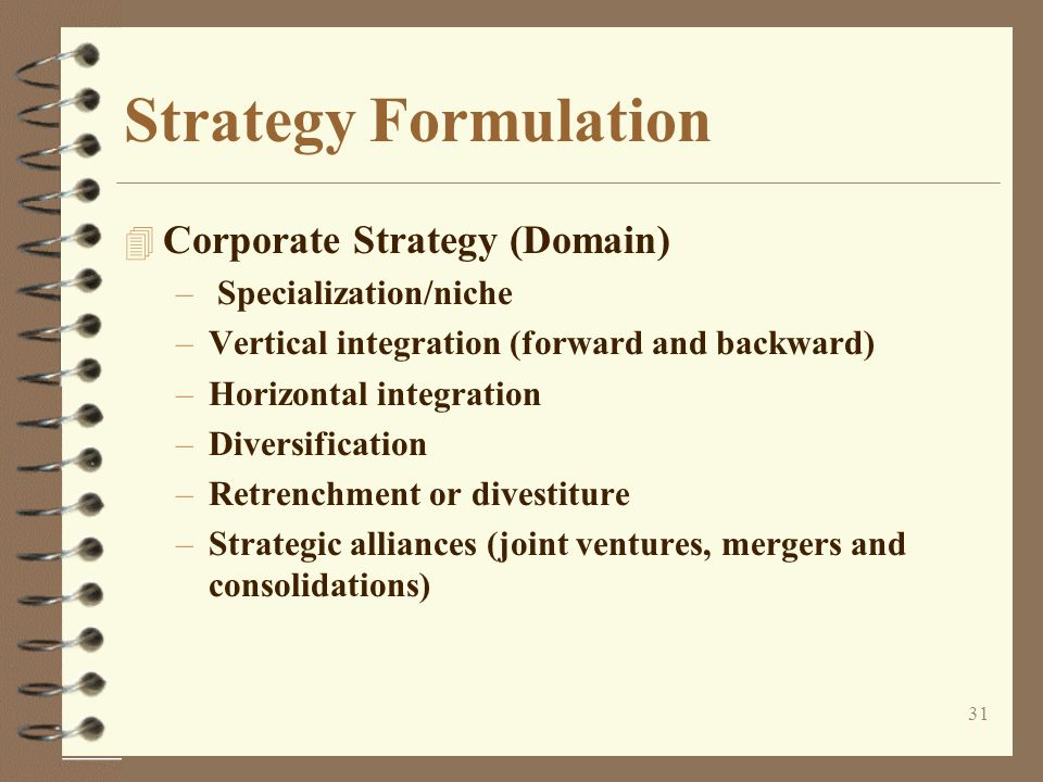 Strategy Formulation Corporate Strategy (Domain) Specialization/niche