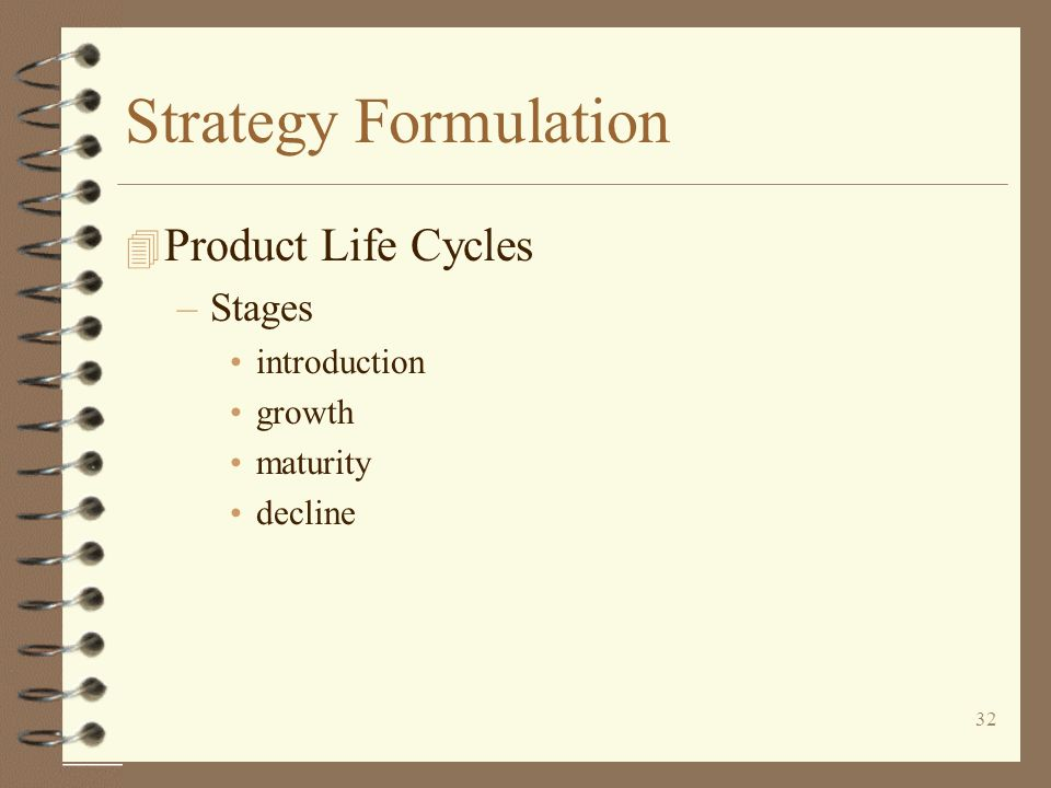 Strategy Formulation Product Life Cycles Stages introduction growth