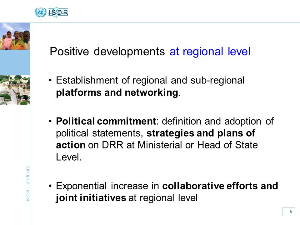 Positive developments at regional level