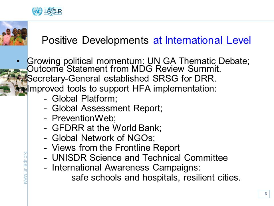 Positive Developments at International Level