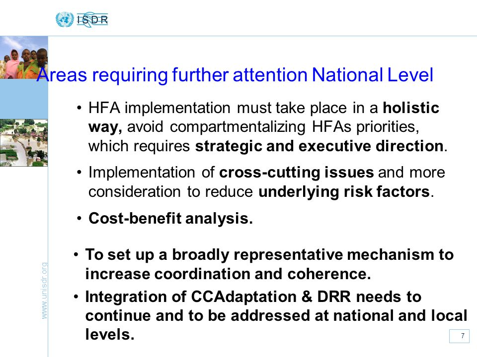 Areas requiring further attention National Level
