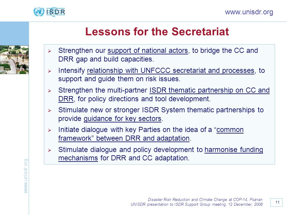 Lessons for the Secretariat