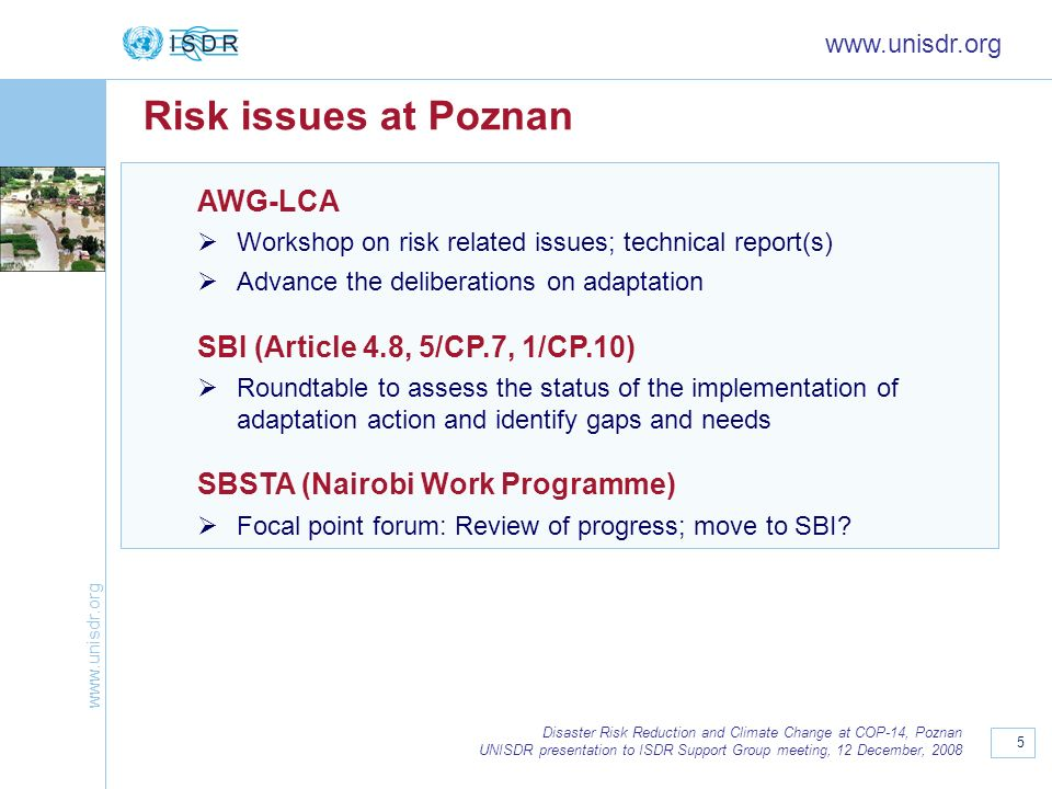 Risk issues at Poznan AWG-LCA SBI (Article 4.8, 5/CP.7, 1/CP.10)