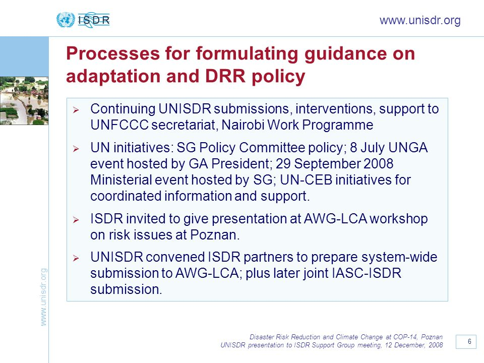 Processes for formulating guidance on adaptation and DRR policy