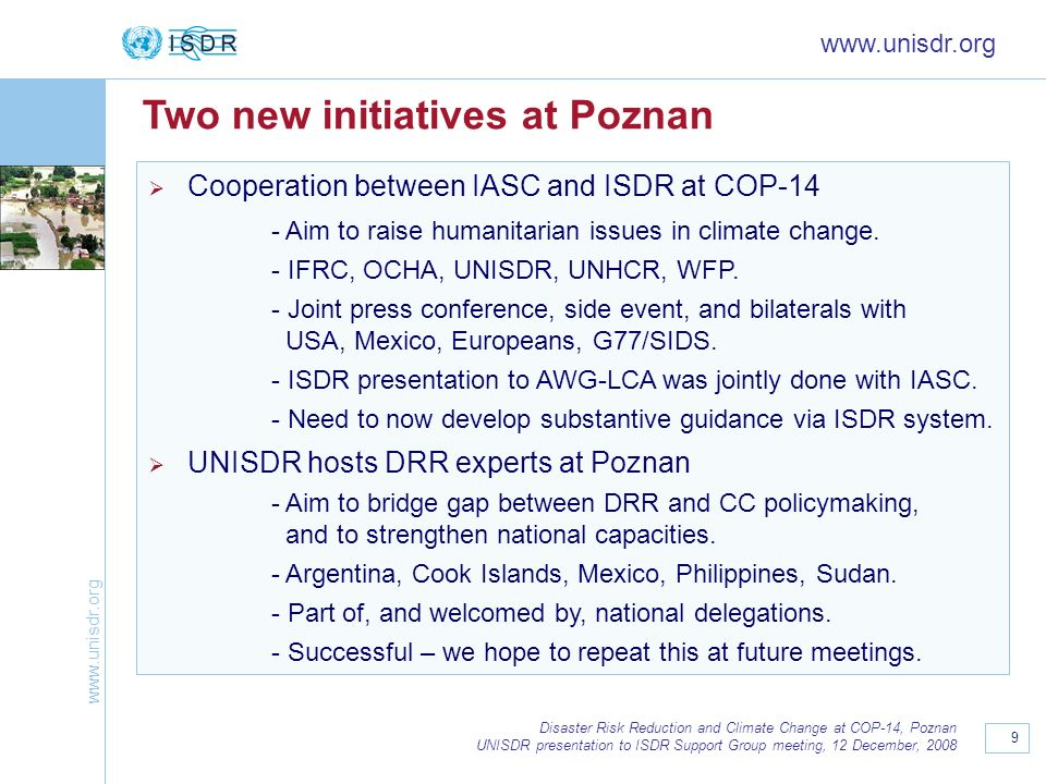 Two new initiatives at Poznan