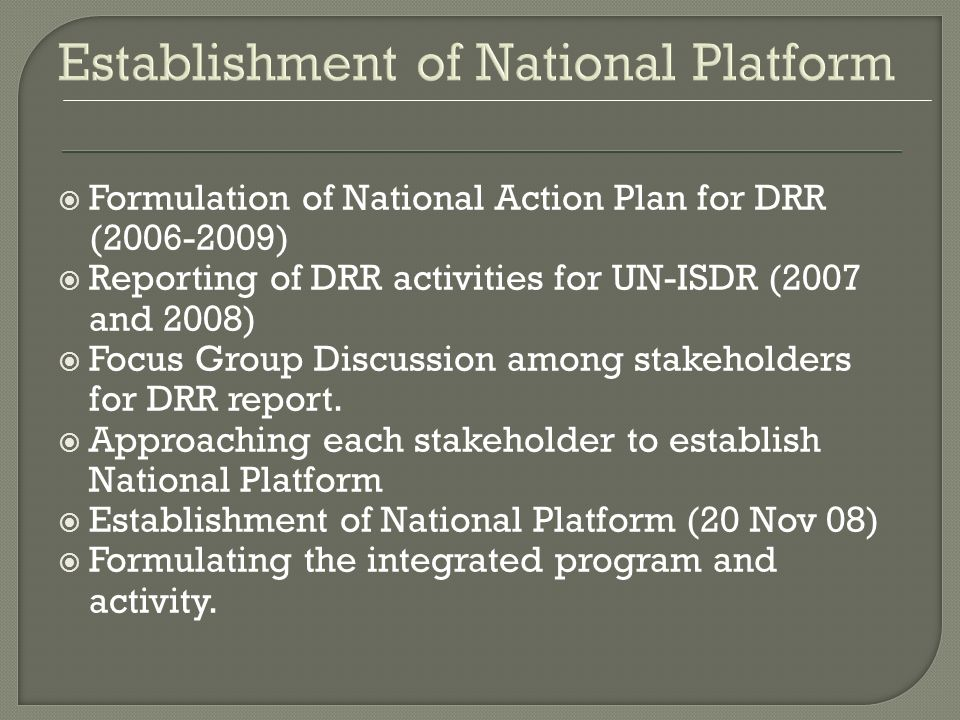 Planning DM Planning Action Plan for DRR