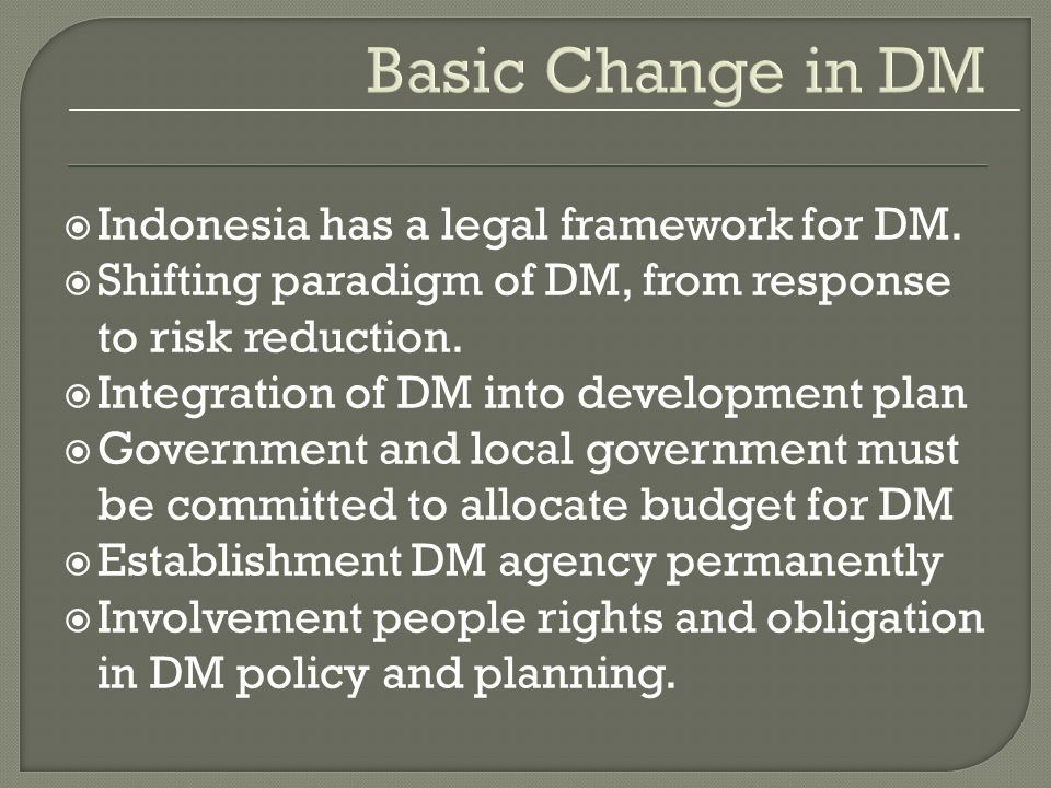 DRR in Indonesia National Action Plan for DRR (2006-2009)