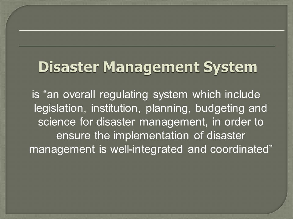 Disaster Management Law Number 24/2007
