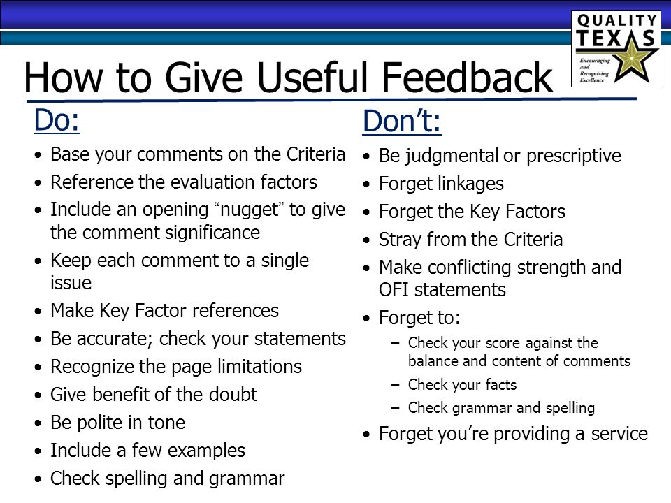 how to give script feedback