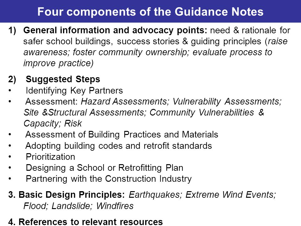 Four components of the Guidance Notes