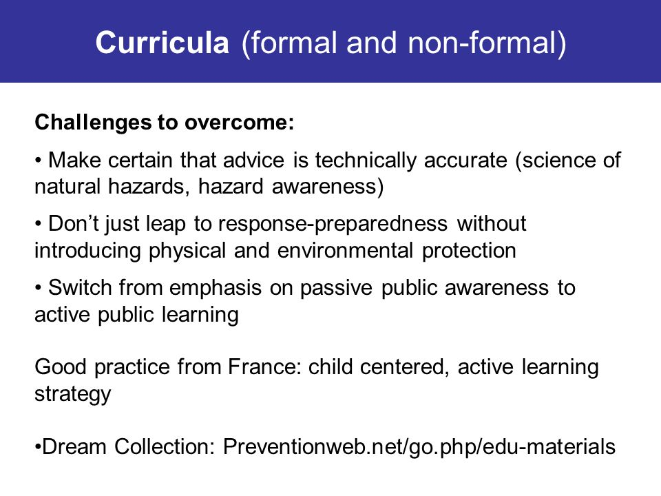 Curricula (formal and non-formal)
