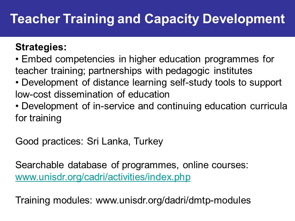 Teacher Training and Capacity Development