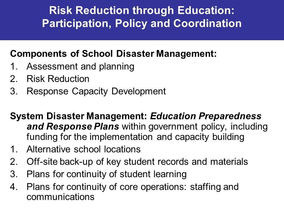 Components of School Disaster Management: Assessment and planning