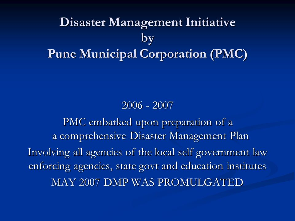 Disaster Management Initiative by Pune Municipal Corporation (PMC)