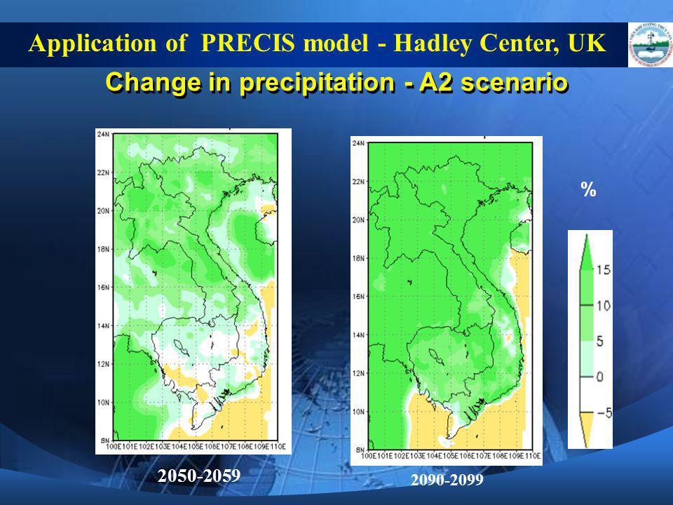 Change in precipitation - A2 scenario