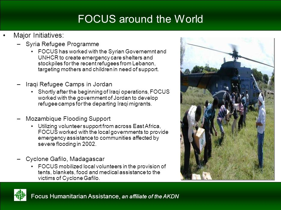 FOCUS around the World Major Initiatives: Syria Refugee Programme