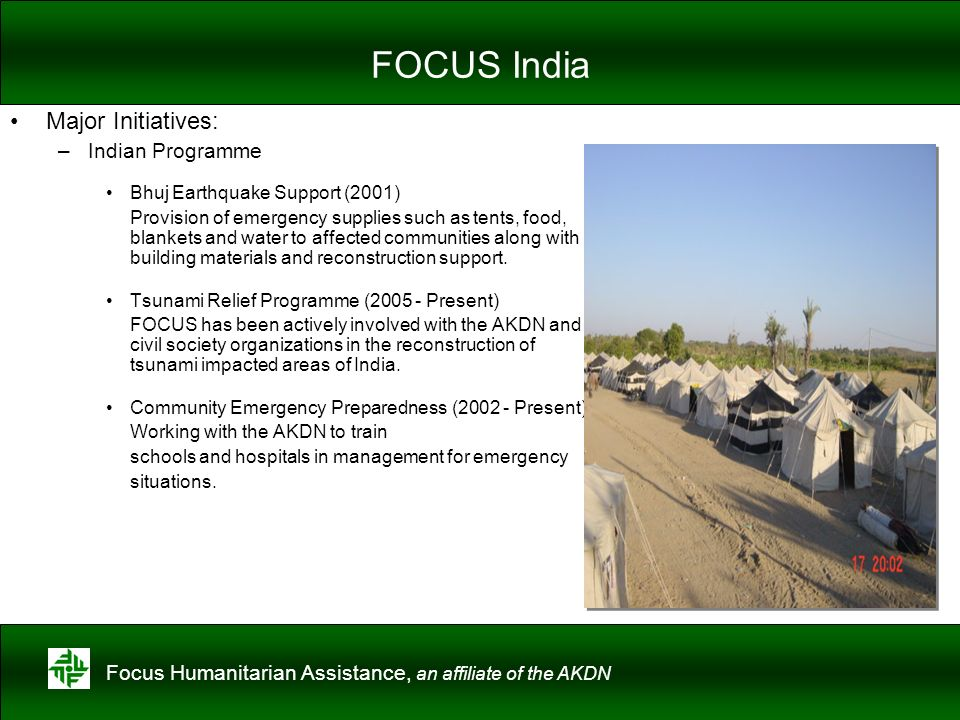FOCUS India Major Initiatives: Indian Programme