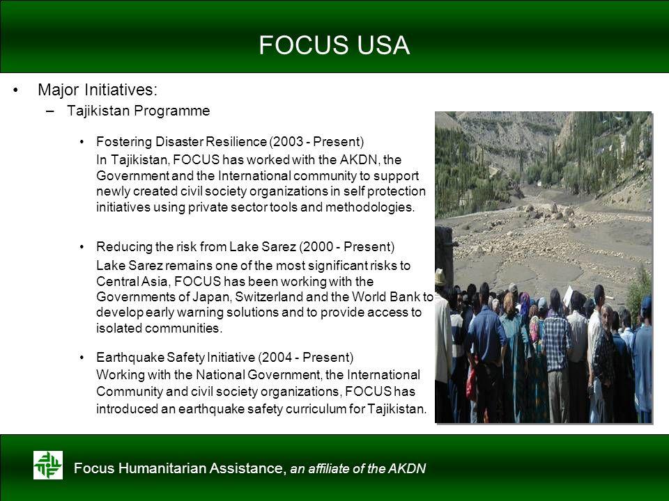 FOCUS USA Major Initiatives: Tajikistan Programme