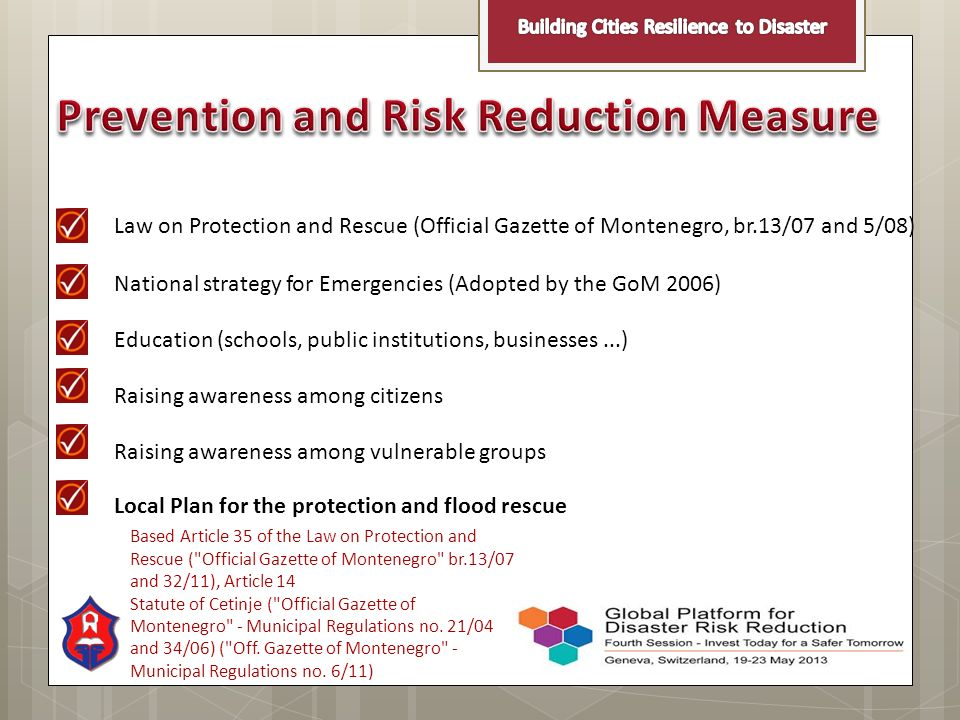 Prevention and Risk Reduction Measure