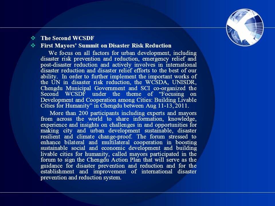 The Second WCSDF First Mayors' Summit on Disaster Risk Reduction.