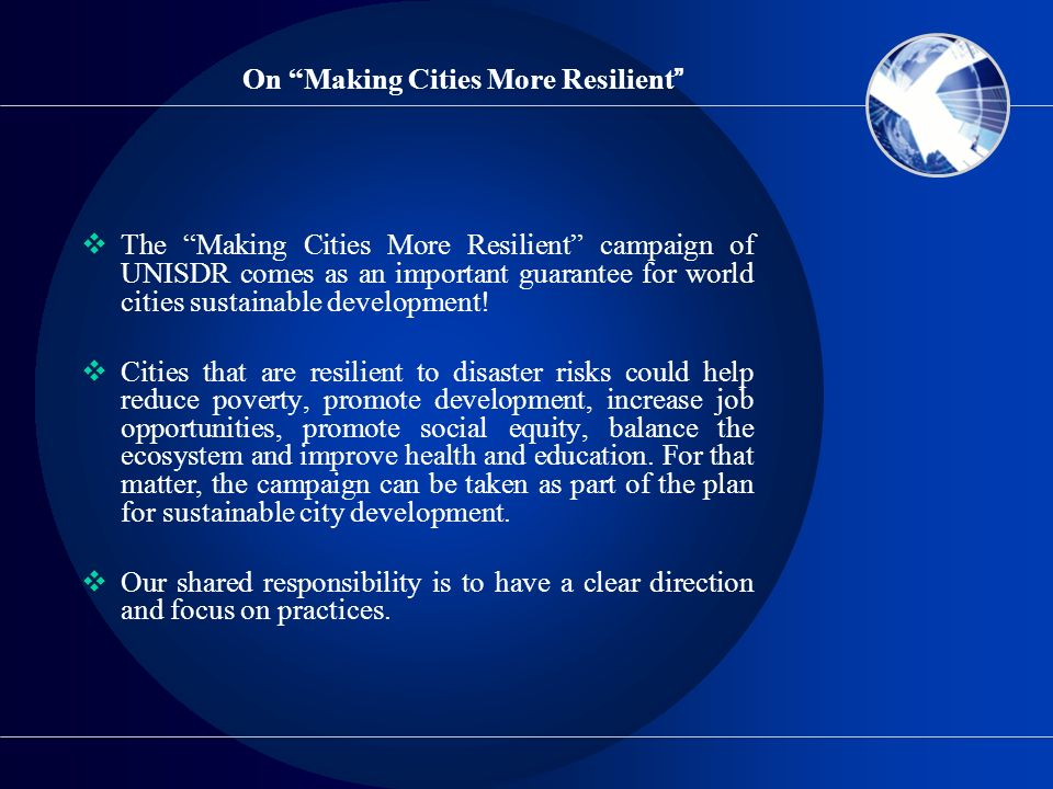 On Making Cities More Resilient
