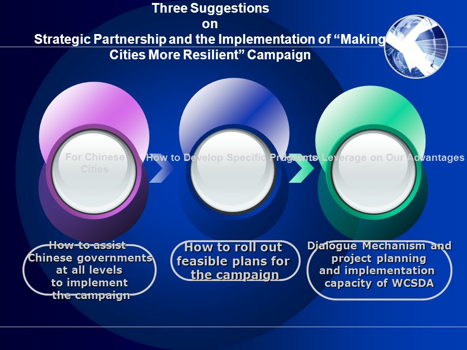 Three Suggestions on Strategic Partnership and the Implementation of Making Cities More Resilient Campaign