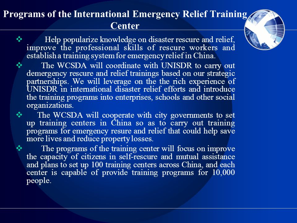 Programs of the International Emergency Relief Training Center
