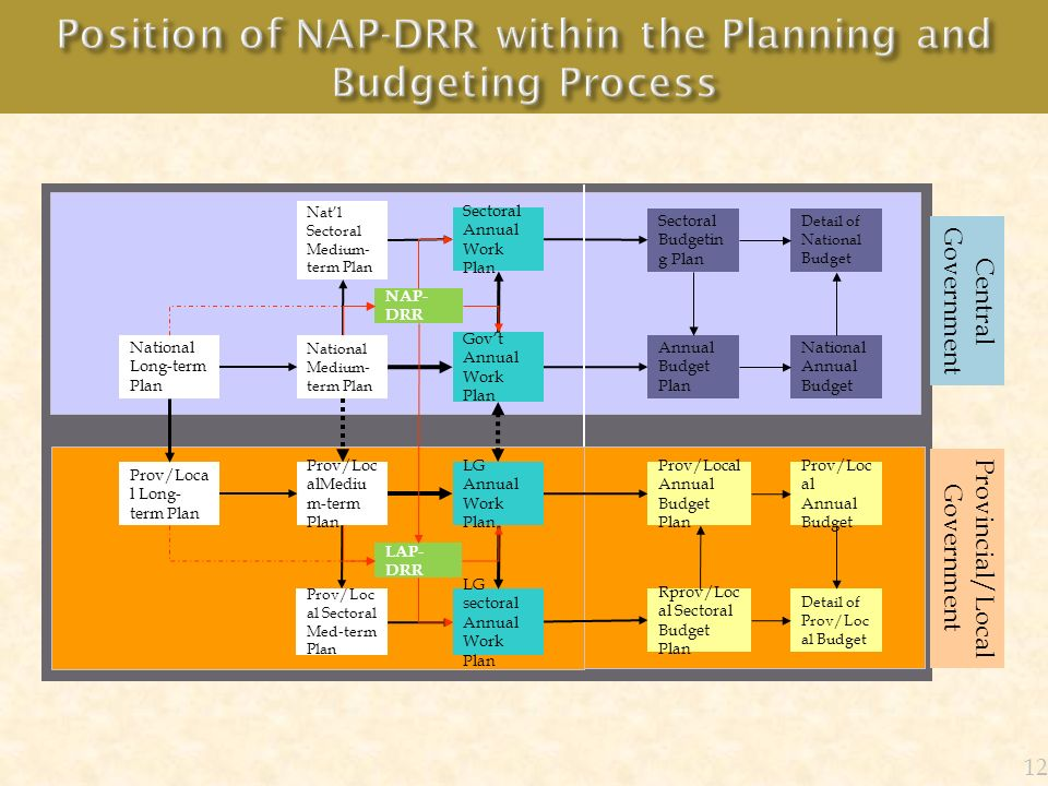 Position of NAP-DRR within the Planning and Budgeting Process