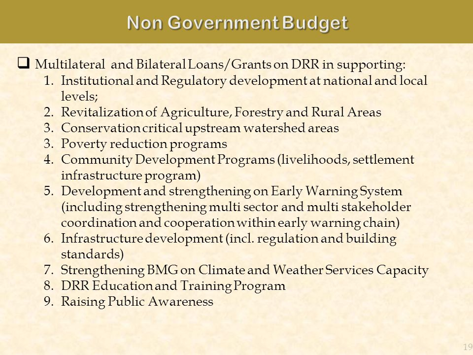 Non Government Budget Multilateral and Bilateral Loans/Grants on DRR in supporting: