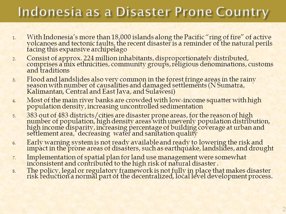 Indonesia as a Disaster Prone Country