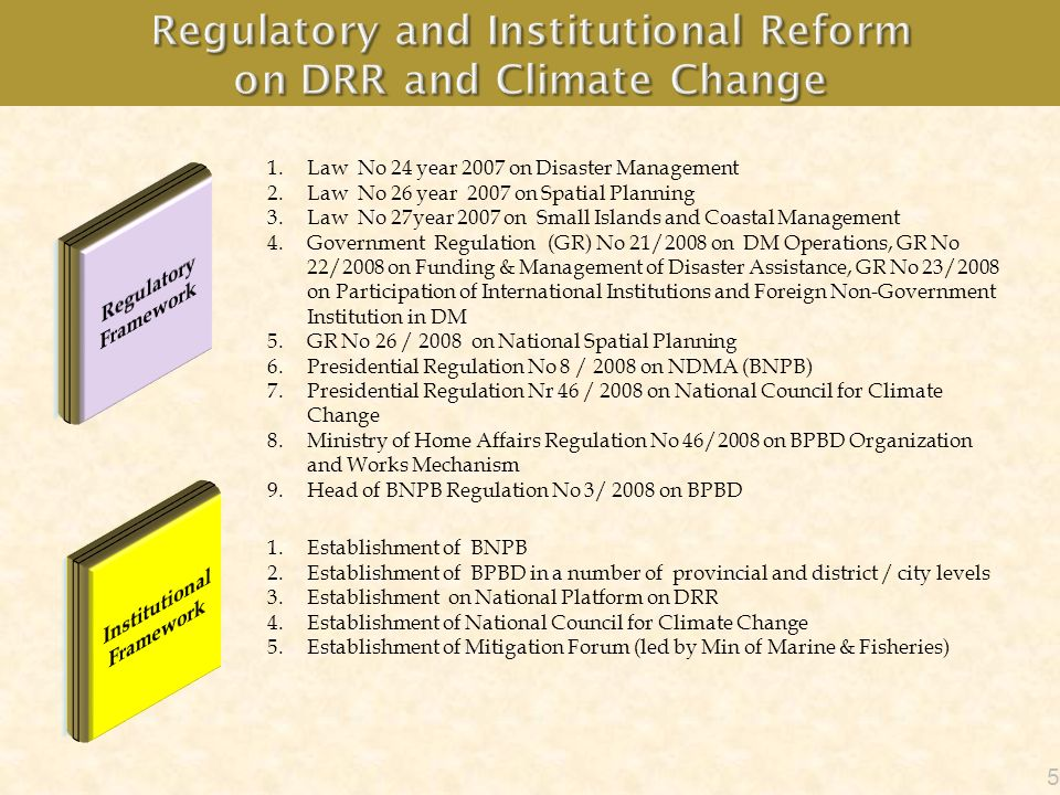 Regulatory and Institutional Reform on DRR and Climate Change