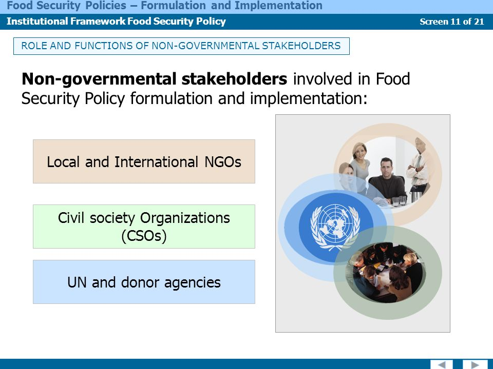 ROLE AND FUNCTIONS OF NON-GOVERNMENTAL STAKEHOLDERS