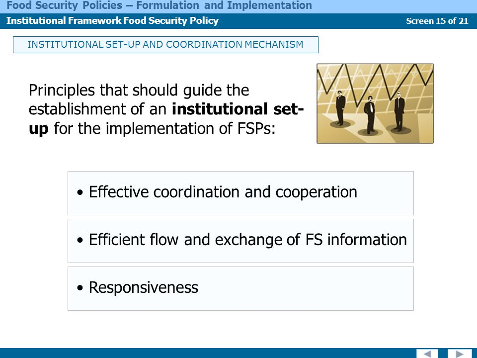 INSTITUTIONAL SET-UP AND COORDINATION MECHANISM