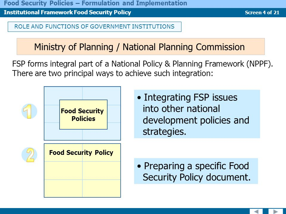 1 2 Integrating FSP issues into other national
