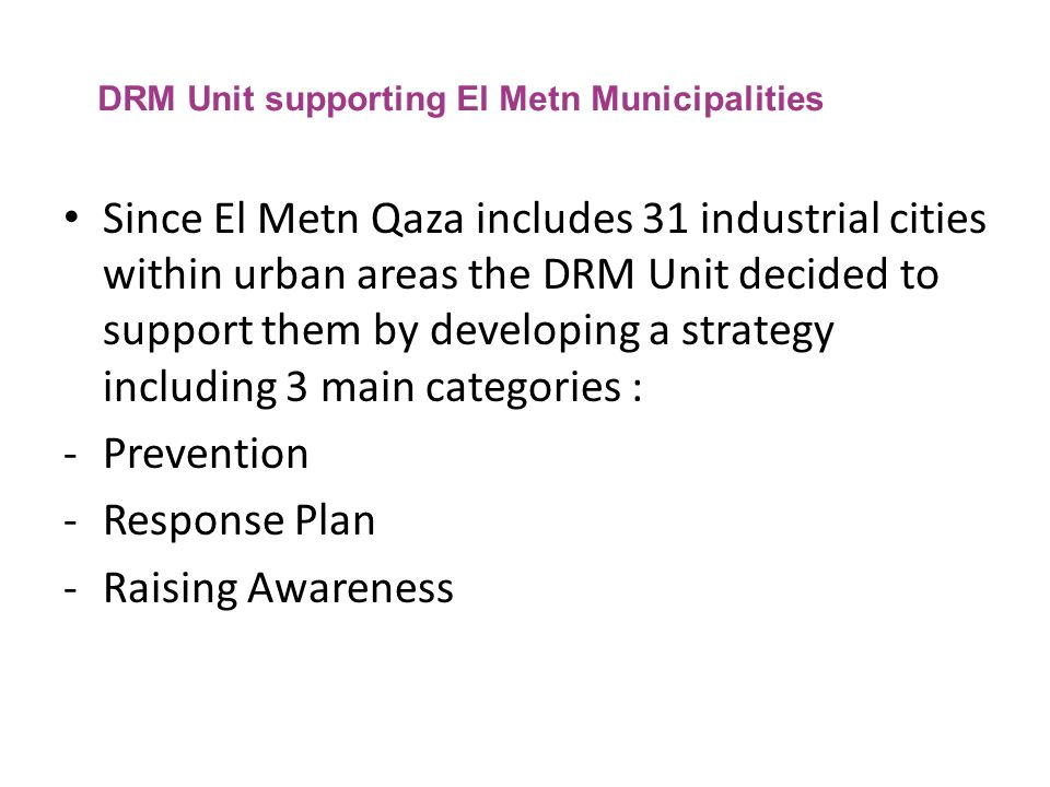 DRM Unit supporting El Metn Municipalities