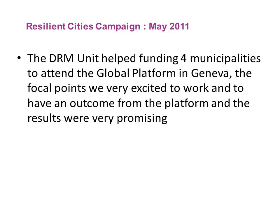 Resilient Cities Campaign : May 2011