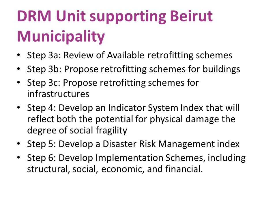 DRM Unit supporting Beirut Municipality