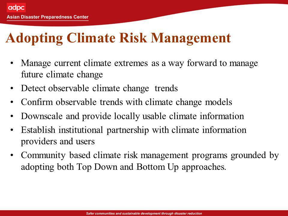 Adopting Climate Risk Management