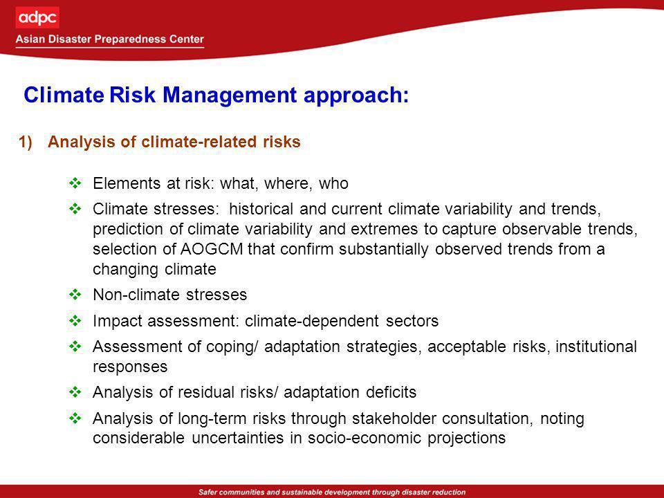 Climate Risk Management approach: