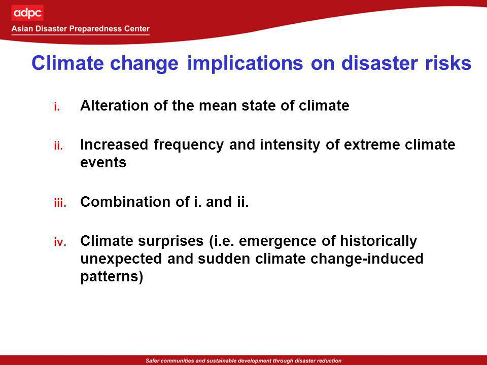 Climate change implications on disaster risks