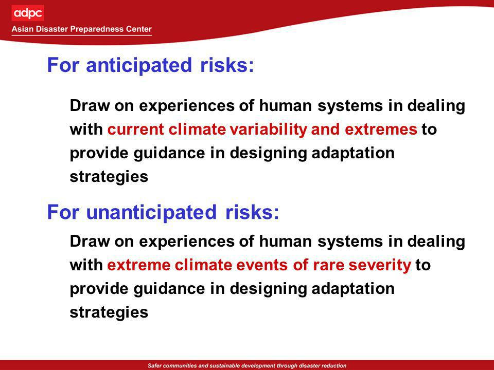 For anticipated risks: