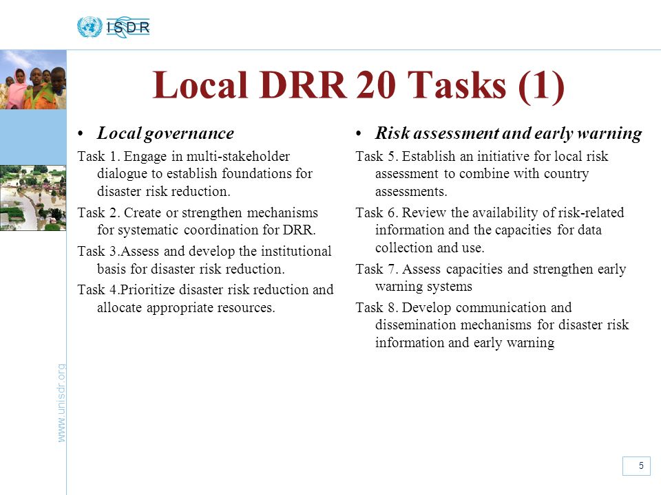 Local DRR 20 Tasks (1) Local governance