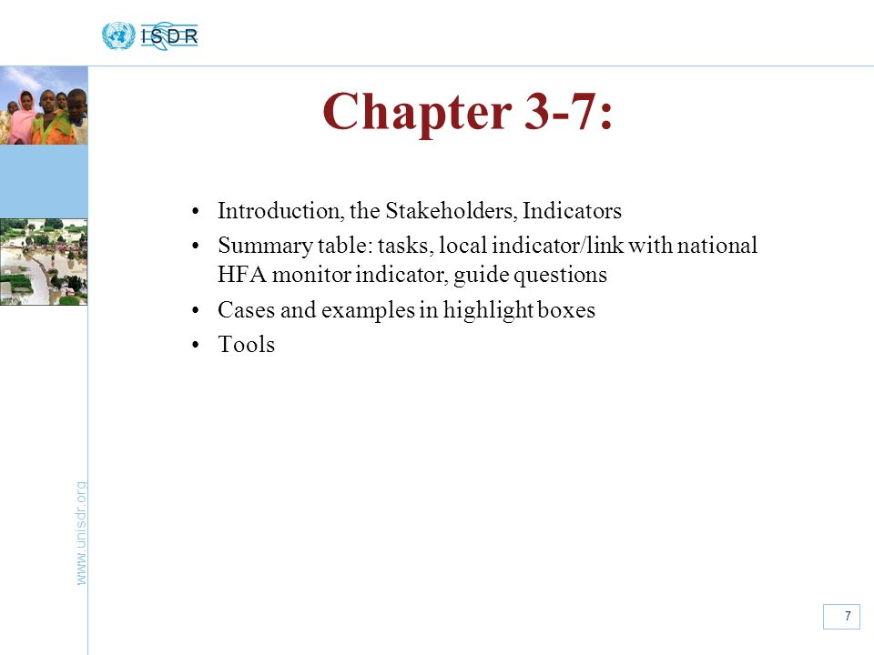 Chapter 3-7: Introduction, the Stakeholders, Indicators
