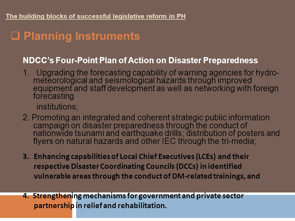 NDCC's Four-Point Plan of Action on Disaster Preparedness