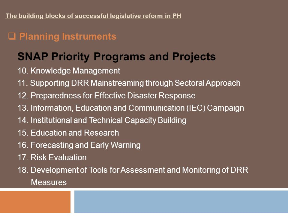 SNAP Priority Programs and Projects