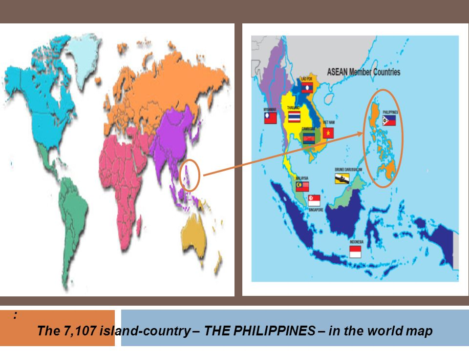 The 7,107 island-country – THE PHILIPPINES – in the world map