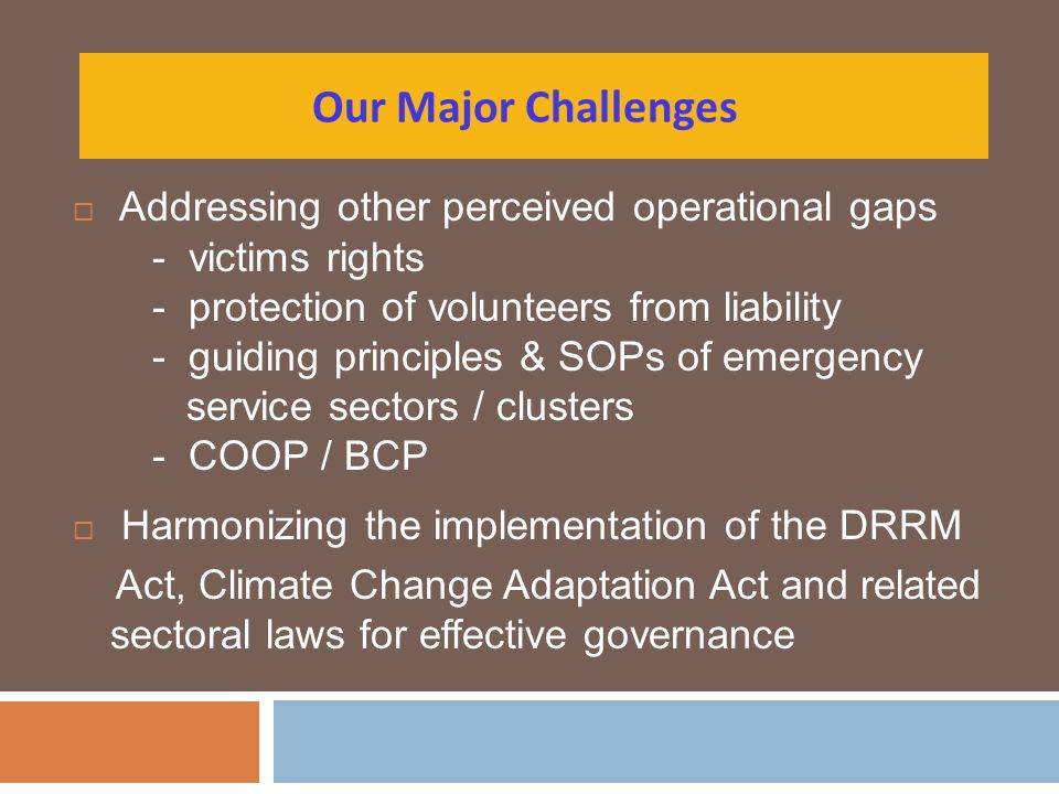 Our Major Challenges Addressing other perceived operational gaps