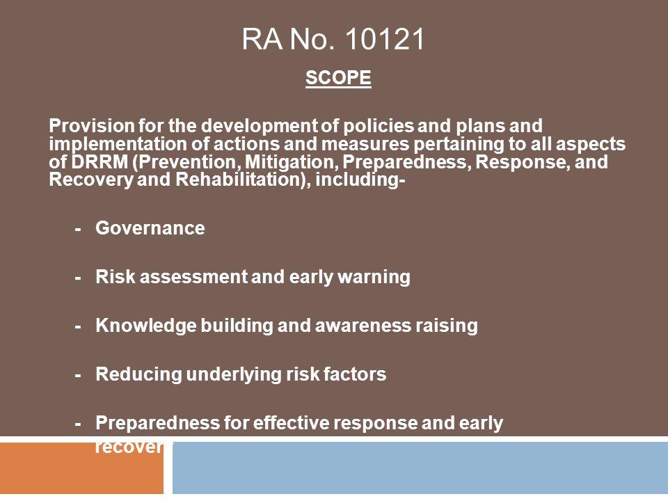 RA No. 10121 SCOPE.