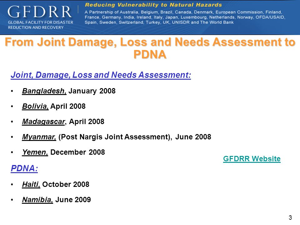 From Joint Damage, Loss and Needs Assessment to PDNA