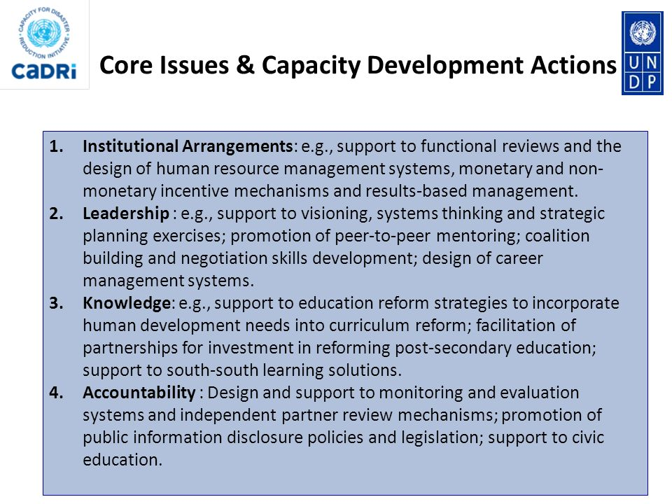 Core Issues & Capacity Development Actions